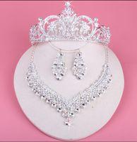 Gelin Gelinler Için Taçlar Köpüklü Kolye Set Düğün Diamante Pageant Tiaras Hairband Kristal Balo Pageant Saç Takı Başlığı Gümüş
