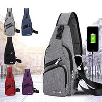 Men USB Chest Bags Sling bag Large Capacity Handbag Crossbod...