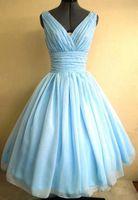 Hafif Sky Blue 1950'ler Kokteyl Parti Elbise Vintage Çay Boyu Artı Boyutu Şifon Dantelli V Yaka Kadınlar Kısa Balo Balo Abiye Custom Made