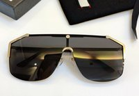 Womens Man Square Sunglasses Black Gold Frame Gold Mirrored ...