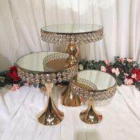 Cristal de luxo de casamento espelho alto bolo centrais de exibição titular suporte fondant macaron cupcake mesa de doces mesa de bolo decoração