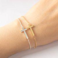 Jesus Christian Damen Mens Horizontal Seitlich Kreuz Armbänder Silber Religiöse Trendy Edelstahl Kette Armband Glücklich