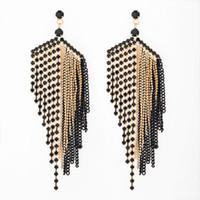Yeni tasarım Büyük Siyah Püskül Küpe Kadınlar Için Moda Taklidi Bırak Küpe Düğün takı Hediyeler E054