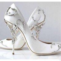 Zapatos de boda de novia de color rosa de raso azul puntiagudo Eden bombas de las mujeres altos de 10 cm con hojas zapatos para el cóctel de la tarde del baile del partido