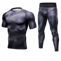 Men Bodybuilding Compression Tracksuit Fitness Black Running...