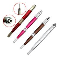 القلم الوشم اليدوي ذو محفظة مزدوجة 5pcs لأدوات الحواجب الدقيقة ذات الحواجب الدقيقة - أحمر ، فضي ، بني ، لون وردي وردي