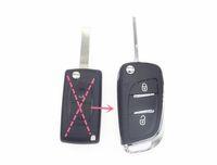 2 botones Cárcel de cáscara de la llave de llave plegable modificada modificada para Peugeot 107 207 307 307s 308 407 607 DKT0269 para Citroen C2 C3 C4 C5 C6 C8 Xsara