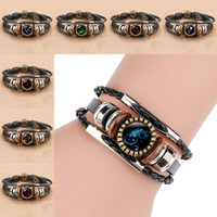 12 Zodiac Horoscope Glass Cabochon Bracelet Multilayer Wrap ...