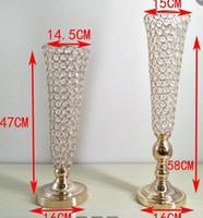 10 pçslote 58 cm de altura de Ouro cor Prata cristal frisado vaso de trumpet peça central do casamento de cristal suporte de flor