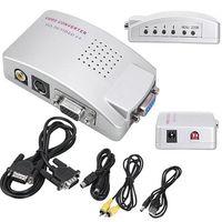 VGA к ТВ AV сигнала RCA адаптер конвертер видео распределительная коробка композитный для компьютера ноутбук ПК Бесплатная доставка