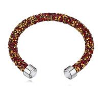 5b56ed40c636 Nueva moda de cristal de Swarovski Malla pulseras brazaletes para las  mujeres de lujo del banquete