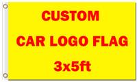 Großhandel Digitaldruck angepasst Auto Logo Flagge 3 x 5 ft 100D Polyester Banner mit zwei Metallösen