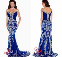 2020 вечерние платья роскошные дизайнерские платья выпускного вечера с плеча хрустальные блестки Bling Royal Blue тюль Русалка формальные театрализованные платья HY1551