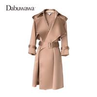 Al por mayor-Dabuwawa Camel Autumn Long Sleeve Fashion para mujer rompevientos Formal Trench Coat