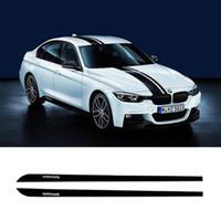 Etek Eşik Çıkartması Yan Şerit 2 adet M Performans Sticker BMW 3 Serisi F30 F31 için