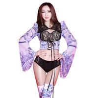 무대 착용 나이트 클럽 여성 가수 레이스 관점 의상 레이디 댄스 팀 재즈 모델 성능 패션 인쇄 복장
