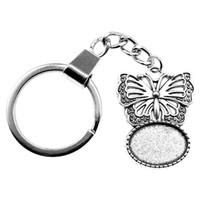 6 조각 키 체인 여성 열쇠 고리 커플 키 체인 키 나비 내부 크기 13x18mm 타원형 카보 숑 카메오 자료 트레이 베젤 빈
