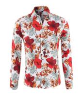 Las flores imprimieron la camisa de los hombres de la moda 2018 del verano con estilo adelgazan el botón abajo de manga larga Camisas masculinas hawaianas de Camisa Masculina
