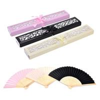 Ventaglio di bambù piegato a mano in elegante confezione regalo taglio laser Bomboniere personalizzate Regali personalizzati per matrimonio a 3 colori