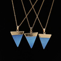 10PCS Blue Triangle Nature Stone Necklace Crystal Necklaces ...