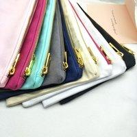 Stili vuoti con zip in cotone cosmetico nero / bianco / crema / grigio / grigio / navy / mint / borsa calda con fodera in oro trucco 9color rosa / luce rosa canvas goldcf