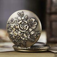 Antike Taschen-Uhr Fob Kette Blume Rose gravieren Uhr Mens Flip Bronze Fall Uhr Vintage-Männlichen Uhren für Männer Frauen Geschenke