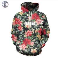 Mr.1991INC Sonbahar Kış Moda Erkekler / kadınlar Kap Baskı Kırmızı Çiçekler Ile Hoodies Yeşil Yapraklar 3d Kapşonlu Tişörtü Hoody Eşofman