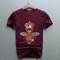 الرجال الفاخرة تصميم الماس النحل التي شيرت أزياء تي شيرت الرجال مضحك القمصان العلامة التجارية قمم القطن وتيز