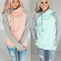 High quality warm women casual hooded patchwork sweatshirt l...
