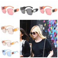 Squared Retro Rimless Ocean Pieces Sun Glasses Frameless Ocu...
