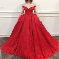 Красное кружево бальное платье Пром платья Sexy Vestido де Noiva бисером аппликации кружева длинные вечерние платья 2018 с плеча рукавов платье