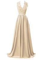 2018 elegante vestido de noche de gasa con cuello en V vestidos de fiesta con encaje fiesta formal ocasión especial viste
