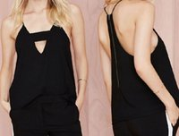 Black V neck Chiffon Zipper Back Blouse Women Summer Sleevel...