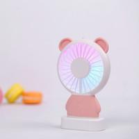 2018 mais novo mini ventilador refrigerador de ar Linglong coelho e Damo urso ventilador de mão led iluminação fina mini usb ventilador