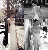 Vestidos de novia de Boho A-Line sexy Gali Karten Spaghetti Longitud del piso única con lado dividido Sin respaldo Vestidos de novia de encaje vintage Por encargo