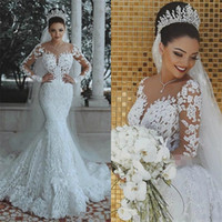 2018 Latest Mermaid Wedding Dresses Detachable Train Long Sl...