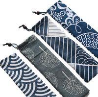 Bolso de tela de algodón de alto grado 26.5 * 7 cm Bolígrafo y set de tenedor para palillos LOGO Customed SN1006