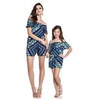 Mother Daughter Rompers Family Look Jumpsuit Off Shoulder Bo...