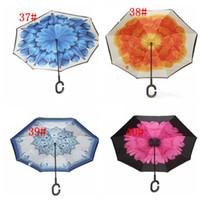 Parapluie inversé C-Hand Windproof Reverse Double Couche Parapluie Inside Out Self Stand Coupe-vent 40