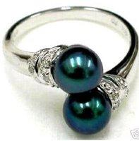 Black Shell Pearl Ring Größe 7 8 9 # A109