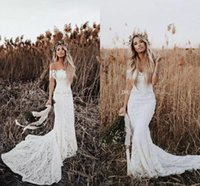 2019 Elegant Boho Mermaid Wedding Dresses Off The Shoulder S...