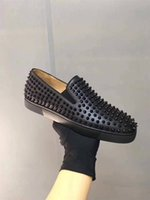Red Pink Blue Suede Low Top Studded Spikes Casual Slip On Fl...