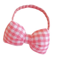 Women Kids Girl Elastic Rubber Band Plaid Pattern Bowknot Ha...