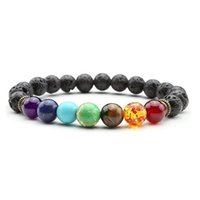 2018 Newst 7 Chakra Bracelet Men Black Lava Healing Balance Beads Reiki Buddha Prayer Natural Stone Yoga Bracelet para mujeres