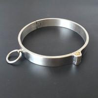 새로운 스테인레스 스틸 목에 목걸이 속박 잠금 슬레이브 BDSM의 구속 자세 칼라 성인 게임 제품 커플을위한 섹스 토이 Y18100702