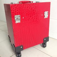 Profesional estuche de maquillaje carro de gran capacidad multicapa universal de cocodrilo patrón de usos múltiples bolsa de cosméticos vacío maleta Ocio