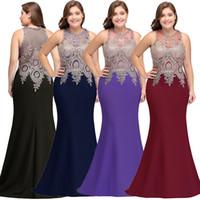 Borgoña Lace Sirena Vestidos de noche largos 2018 Sexy Sheer Encaje apliqueado apliques más tamaño Fiesta Formal Vestidos de baile Robe de Soriee CPS525 MENORES 60
