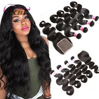 Cheap 8A Brazilian Body Wave With Closure Peruvian Wet and W...