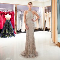 Celebrity Prom Dress Hanging Lace Beaded Crystal Sequins Eve...
