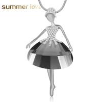 Yeni Gelenler Zarif Bale Dancer Melek Kolye Kolye Uzun Zinciri Avusturyalı kristal Bildirimi Kolye Kadınlar Için Collier Bijoux Mujer Hediye